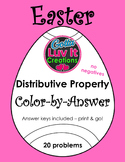 Easter Spring Distributive Property No Negatives Color-by-Answer