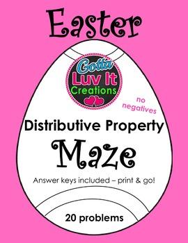 Easter Spring Distributive Property (No Negatives) Maze