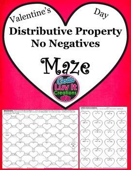 Distributive Property No Negatives Valentine's Day Math Maze