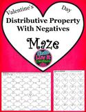 Valentine's Day Distributive Property Maze (includes negatives)