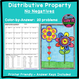 Distributive Property No Negs Color by Number Spring Math