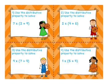 3rd Grade Distributive Property of Multiplication Activity Task Cards 3.OA.5
