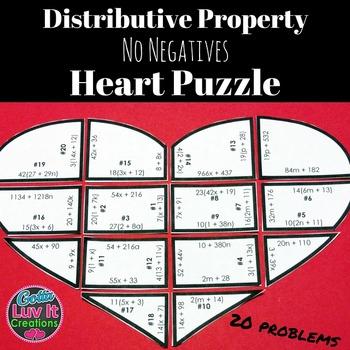 Valentine's Day Math Distributive Property Heart Puzzle Va