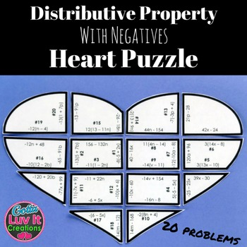 Valentine's Day Math Distributive Property With Negs Valentine's Day Activity