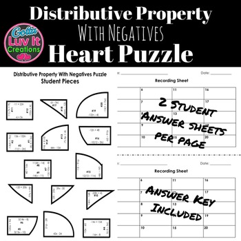 Distributive Property With Negs Math Heart Puzzle Great Math Review