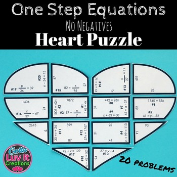 One Step Equations No Negatives Heart Puzzle