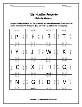 Distributive Property:  5 Puzzle
