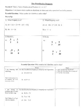 Distributive Property (7.EE.1; 7.EE.2; Mathematical Practices 1,2,3,5,7)