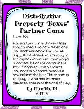 Distributive Property Boxes Partner Game—6.EE.3