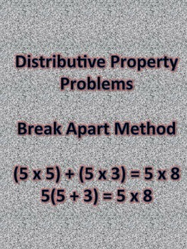 Distributive Property Break Apart Method