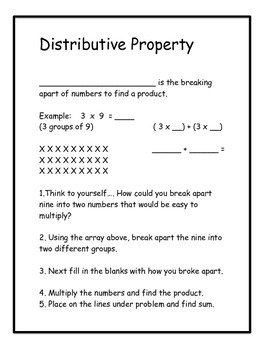 Distributive Property - Note Taking on Breaking Apart Numbers to Multiply