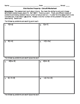 Distributive Property - Calcul8 Worksheet