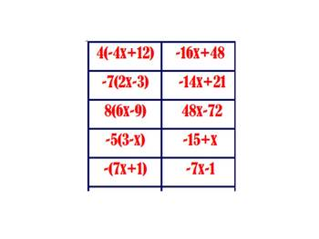 Distributive Property Card Sort