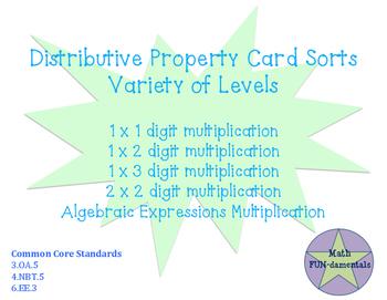 Distributive Property Card Sorts- various levels