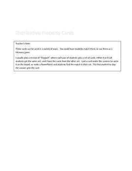 Distributive Property Cards