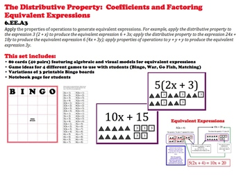 Distributive Property Cards Factoring Algebraic Expressions 6.EE.3 Coefficients