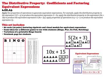 Distributive Property Cards Factoring Algebraic Expression