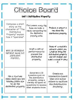 Distributive Property Choice Board