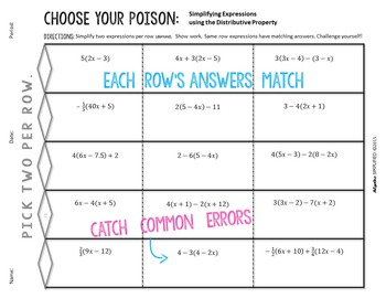 Distributive Property Choose Your Poison