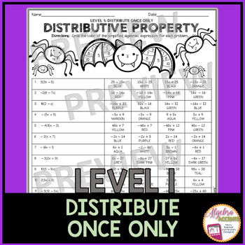 Simplifying Expressions using the Distributive Property Coloring Activity