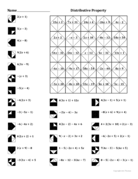 distributive property coloring worksheet by aric thomas tpt. Black Bedroom Furniture Sets. Home Design Ideas
