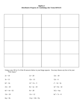 Distributive Property & Combining Like Terms 4 x 4 Bingo