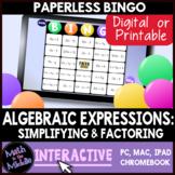 Distributive Property, Combining Like Terms, & Factoring Digital Bingo Game