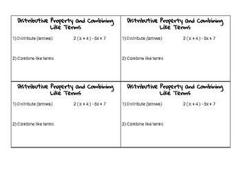 Distributive Property & Combining Like Terms Notecard