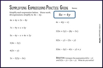 Distributive Property & Combining Like Terms Practice Guide