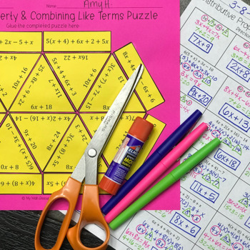 Distributive Property & Combining Like Terms Puzzle #2 (CCSS 6.EE.A.3)
