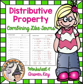 Distributive Property Combining Like Terms Simplify by Distributing Worksheet