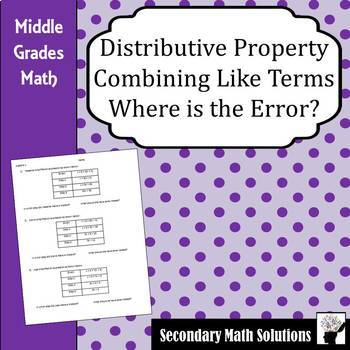 Distributive Property, Combining Like Terms, Where is the Error? Practice