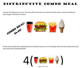 Distributive Property Combo Meal