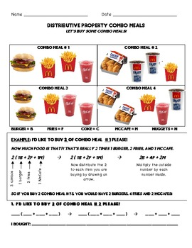 Distributive Property Combo Meal Activity