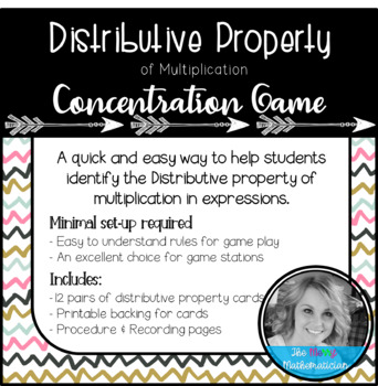 Distributive Property Concentration (Match) Game