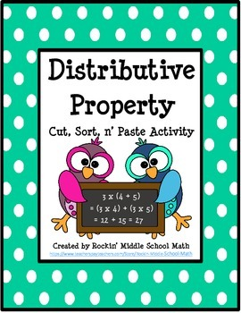 Distributive Property -  Cut, Sort n' Paste Activity -  (CCSS 3.OA.B.5)