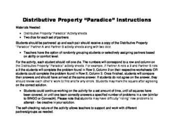 Distributive Property Dice Partner Activity