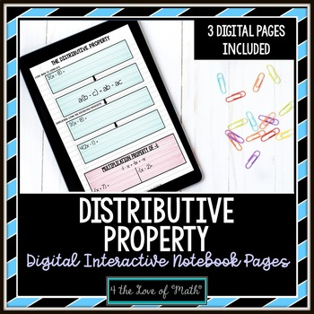 Distributive Property Digital Interactive Notebook Pages
