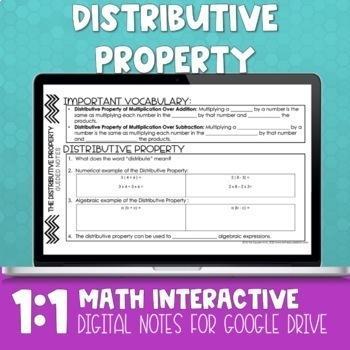 Distributive Property Digital Math Notes