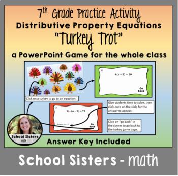 Distributive Property Equations Turkey Trot