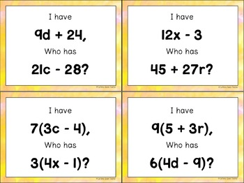 Distributive Property Expressions Activities