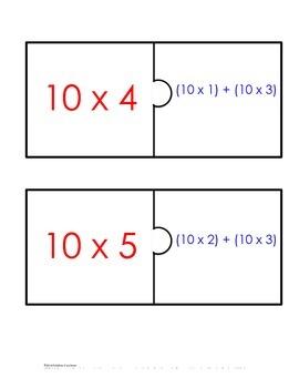 Distributive Property Fact Puzzle x10