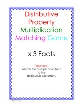 Distributive Property Fact Puzzle x3