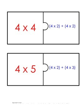 Distributive Property Fact Puzzle x4