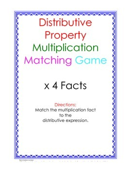 Distributive Property Fact Puzzle x4