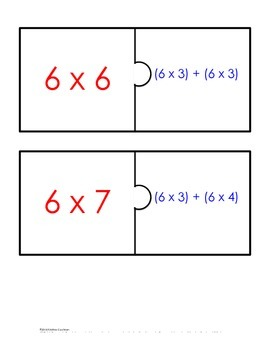 Distributive Property Fact Puzzle x6