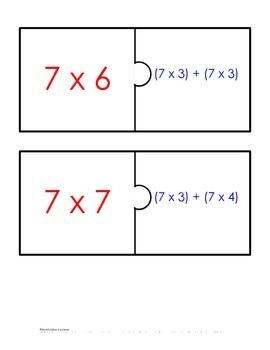 Distributive Property Fact Puzzle x7