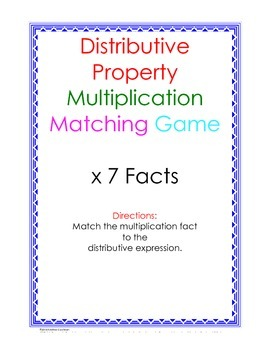 Distributive Property Fact Puzzle x7