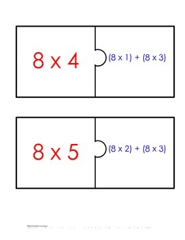 Distributive Property Fact Puzzle x8