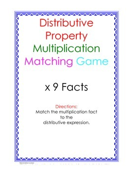 Distributive Property Fact Puzzle x9
